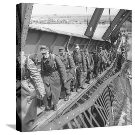 German Soldiers Walk over Elbe River to Surrender to Allied Forces in the Waning Days of WWII-William Vandivert-Stretched Canvas Print