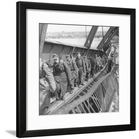 German Soldiers Walk over Elbe River to Surrender to Allied Forces in the Waning Days of WWII-William Vandivert-Framed Art Print