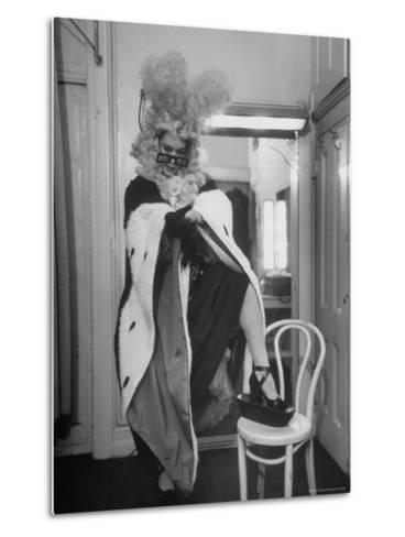 Soprano Patrice Munsel Costumed as Notary for Cosi Fan Tutte, Pulling onGloves in Dressing Room-Peter Stackpole-Metal Print