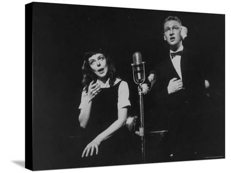 """Elaine May and Mike Nichols Appearing at the """"Blue Angel""""-Peter Stackpole-Stretched Canvas Print"""