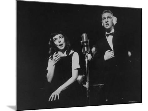 """Elaine May and Mike Nichols Appearing at the """"Blue Angel""""-Peter Stackpole-Mounted Premium Photographic Print"""