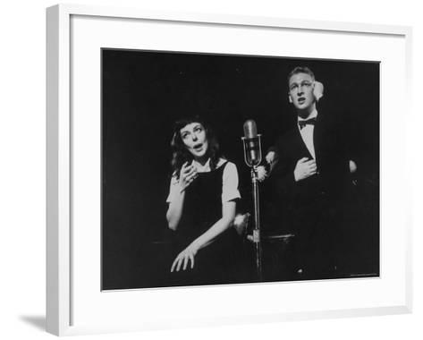 """Elaine May and Mike Nichols Appearing at the """"Blue Angel""""-Peter Stackpole-Framed Art Print"""