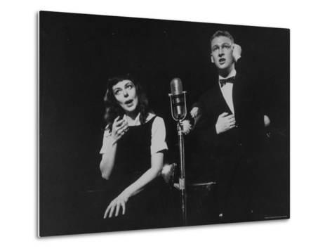 """Elaine May and Mike Nichols Appearing at the """"Blue Angel""""-Peter Stackpole-Metal Print"""