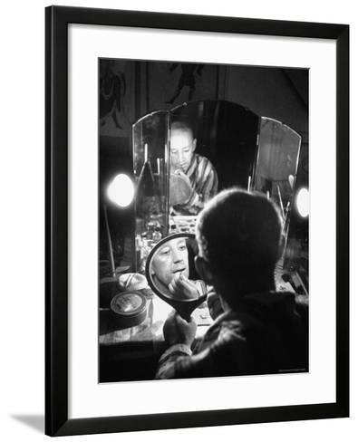 Alec Guiness Putting on His Make Up in Dressing Room at the Stratford Shakespeare Festival-Peter Stackpole-Framed Art Print