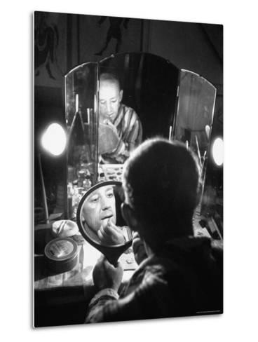 Alec Guiness Putting on His Make Up in Dressing Room at the Stratford Shakespeare Festival-Peter Stackpole-Metal Print