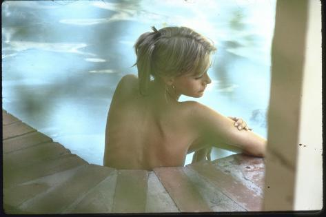 Peggy Lipton in Her Pool-Charles Moore-Stretched Canvas Print