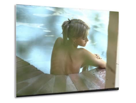 Peggy Lipton in Her Pool-Charles Moore-Metal Print