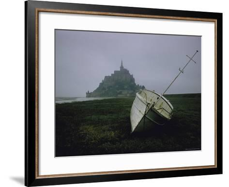 Boat and Mont St. Michel, Islet in Northwestern France, in the Gulf of Saint Malo-Walter Sanders-Framed Art Print
