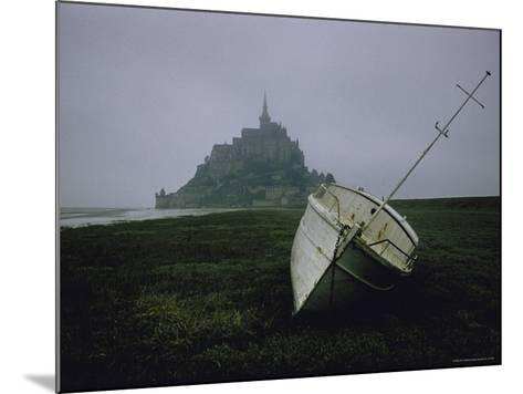 Boat and Mont St. Michel, Islet in Northwestern France, in the Gulf of Saint Malo-Walter Sanders-Mounted Photographic Print