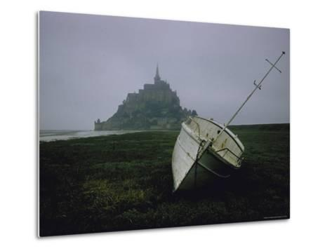 Boat and Mont St. Michel, Islet in Northwestern France, in the Gulf of Saint Malo-Walter Sanders-Metal Print