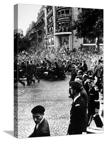 French Gen. Charles de Gaulle Waving to Jubilant Crowds Following Liberation of Paris-Ralph Morse-Stretched Canvas Print