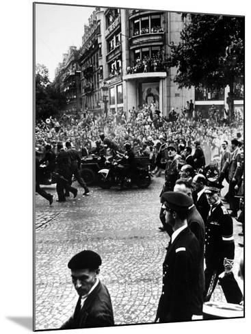 French Gen. Charles de Gaulle Waving to Jubilant Crowds Following Liberation of Paris-Ralph Morse-Mounted Premium Photographic Print