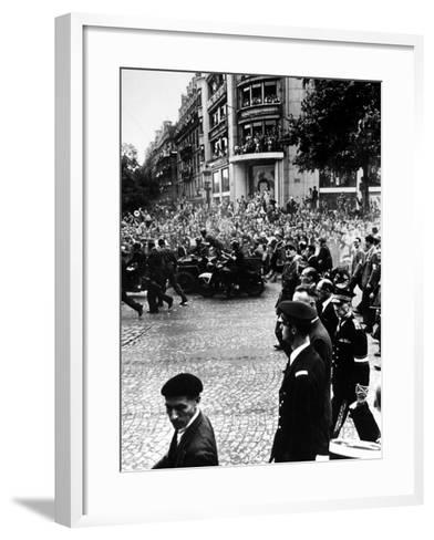 French Gen. Charles de Gaulle Waving to Jubilant Crowds Following Liberation of Paris-Ralph Morse-Framed Art Print