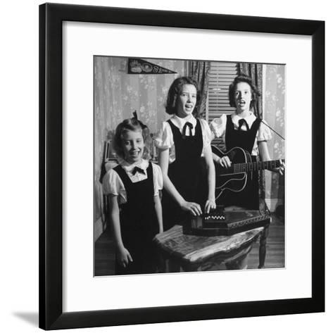 Country Western Singing Carter Sisters Anita, June and Helen, Singing, Playing Autoharp and Guitar-Eric Schaal-Framed Art Print