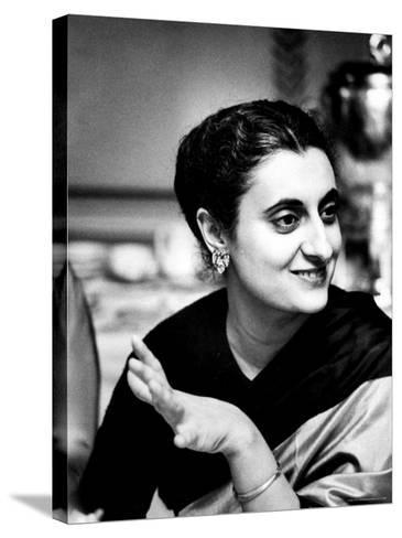 Daughter of Indian Pm Jawaharlal Nehru, Indira Gandhi, During Visit with Father to Us and Canada-Carl Mydans-Stretched Canvas Print
