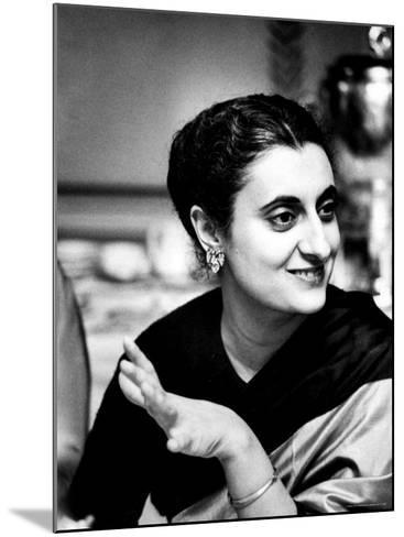 Daughter of Indian Pm Jawaharlal Nehru, Indira Gandhi, During Visit with Father to Us and Canada-Carl Mydans-Mounted Premium Photographic Print