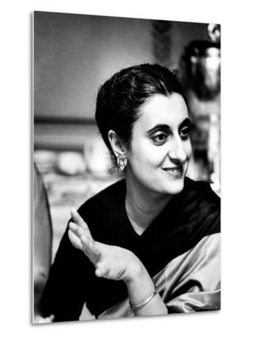 Daughter of Indian Pm Jawaharlal Nehru, Indira Gandhi, During Visit with Father to Us and Canada-Carl Mydans-Metal Print