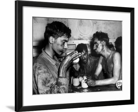 Pfc. Faris M. Tuohy, Holding Coffee Cup &, Along with His Fellow Marines-Ray R. Platnick-Framed Art Print