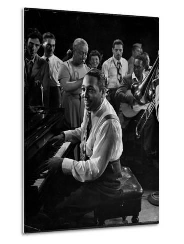 Duke Ellington Playing Don't Get Around Much Anymore-Gjon Mili-Metal Print