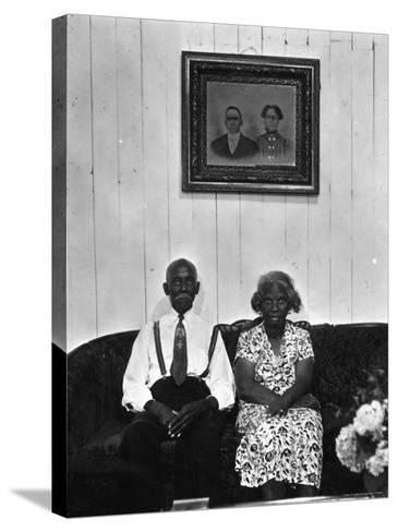 Mr. and Mrs. Albert Thornton, Sr. the Son of a Slave, a Sharecropper and Independent Farmer-Gordon Parks-Stretched Canvas Print