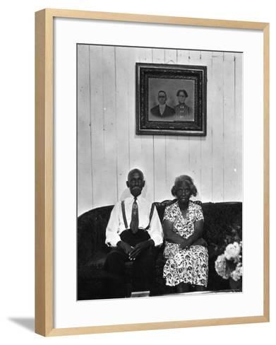 Mr. and Mrs. Albert Thornton, Sr. the Son of a Slave, a Sharecropper and Independent Farmer-Gordon Parks-Framed Art Print