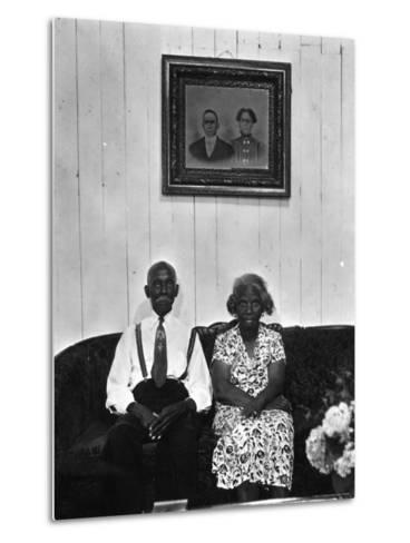 Mr. and Mrs. Albert Thornton, Sr. the Son of a Slave, a Sharecropper and Independent Farmer-Gordon Parks-Metal Print