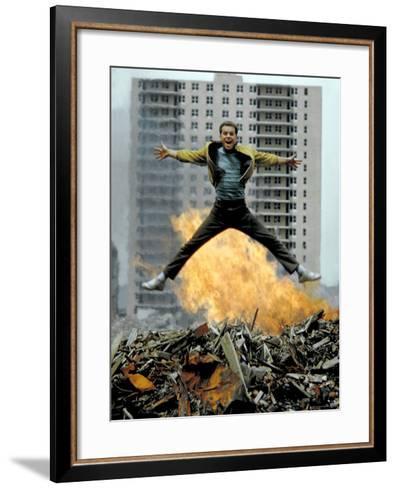 Riff Leaps over Smoldering Rubble of New York Slum Clearance Project in Scene from West Side Story-Gjon Mili-Framed Art Print