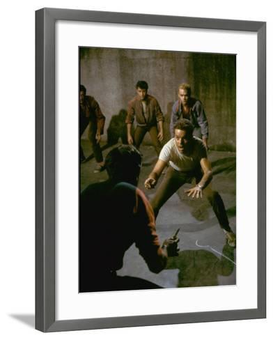 Knife Fight Scene from West Side Story-Gjon Mili-Framed Art Print