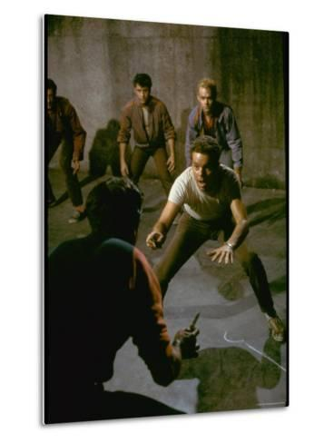 Knife Fight Scene from West Side Story-Gjon Mili-Metal Print