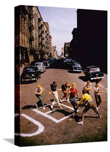Jets' Dance on Busy Street in Scene from West Side Story-Gjon Mili-Stretched Canvas Print