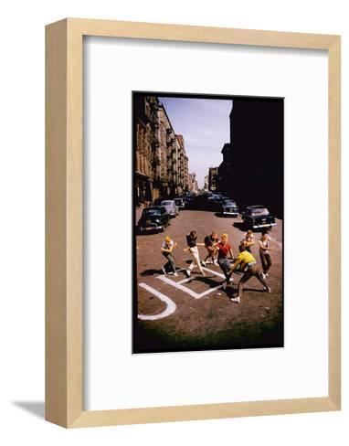 Jets' Dance on Busy Street in Scene from West Side Story-Gjon Mili-Framed Art Print
