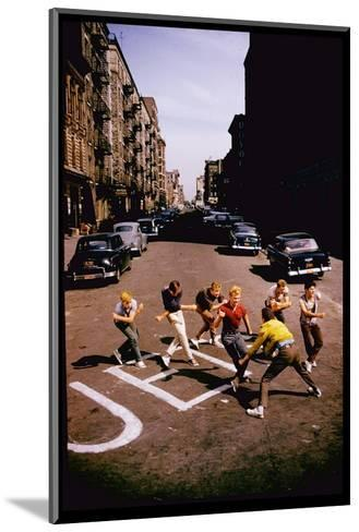 Jets' Dance on Busy Street in Scene from West Side Story-Gjon Mili-Mounted Premium Photographic Print