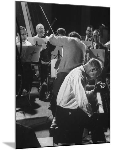 Violinist Alexander Schneider Conducting in Rehearsal of Mozart Piano Concerto-Gjon Mili-Mounted Premium Photographic Print