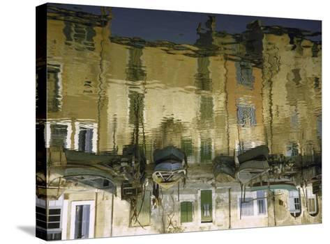 Painter is Reflected in River or Canal at Martigues, a Mediterranean Fishing Village-Walter Sanders-Stretched Canvas Print