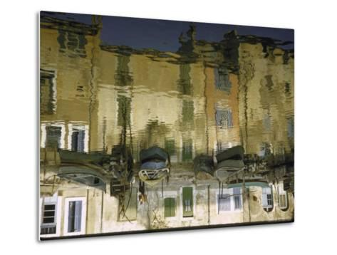 Painter is Reflected in River or Canal at Martigues, a Mediterranean Fishing Village-Walter Sanders-Metal Print