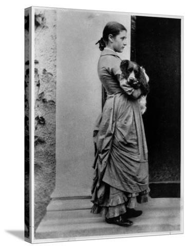 British Author/Illustrator Beatrix Potter Posing Outside with Her Dog at Age 15-Rupert Potter-Stretched Canvas Print