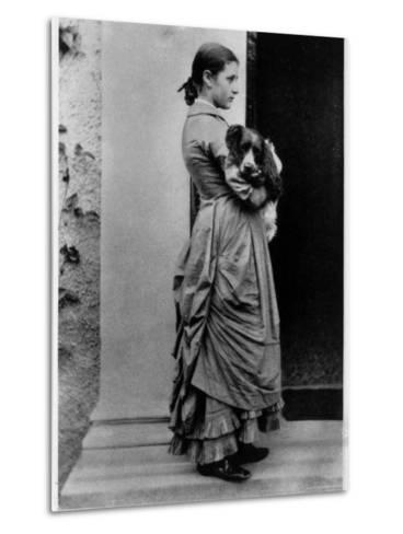 British Author/Illustrator Beatrix Potter Posing Outside with Her Dog at Age 15-Rupert Potter-Metal Print