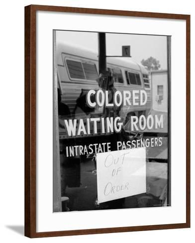"""Freedom Riders: """"Out of Order"""" Sign Pasted to Window for Segregated Waiting Room-Paul Schutzer-Framed Art Print"""