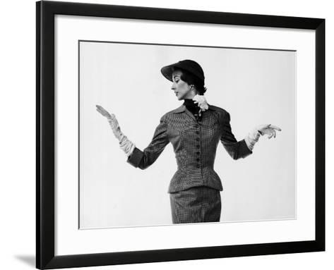 Model Dorian Leigh Wearing Softly Tailored Suit by Adele Simpson with Long Gloves-Gjon Mili-Framed Art Print