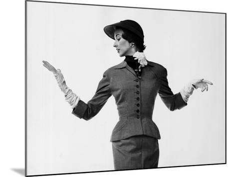 Model Dorian Leigh Wearing Softly Tailored Suit by Adele Simpson with Long Gloves-Gjon Mili-Mounted Photographic Print