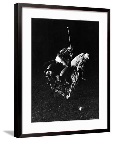 William Nicholls and William Rand of Squadron Polo Team Indoor Polo at National Guard Armory, NYC-Gjon Mili-Framed Art Print