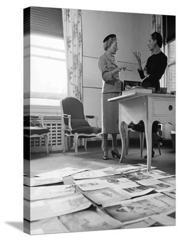 Editor Carmel Snow and Fashion Editor Diana Vreeland Reviewing Layouts in Harper's Bazaar Office-Walter Sanders-Stretched Canvas Print