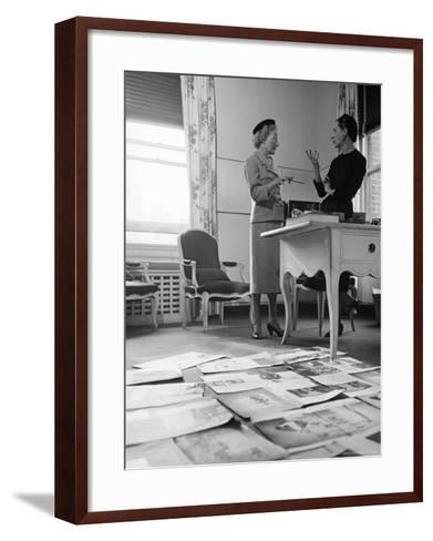 Editor Carmel Snow and Fashion Editor Diana Vreeland Reviewing Layouts in Harper's Bazaar Office-Walter Sanders-Framed Art Print