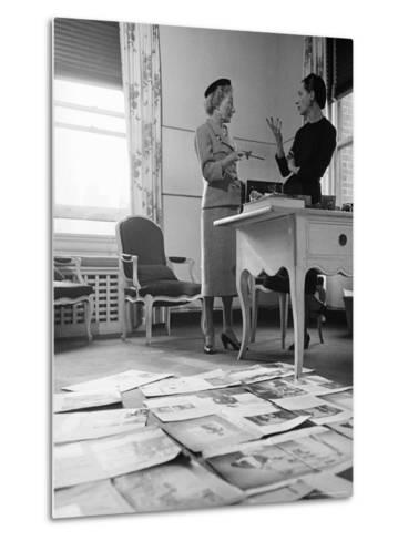 Editor Carmel Snow and Fashion Editor Diana Vreeland Reviewing Layouts in Harper's Bazaar Office-Walter Sanders-Metal Print