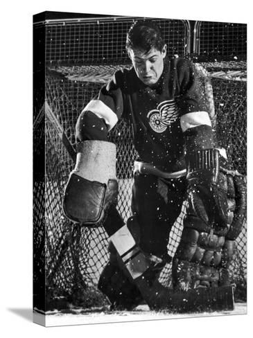 Terry Sawchuck, Star Goalie for the Detroit Red Wings, Warding Off Shot on Goal, at Ice Arena-Joe Scherschel-Stretched Canvas Print