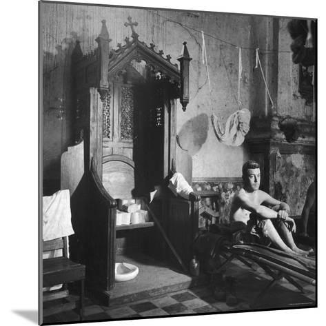 Grave Soldier on Cot Next to Ornate Confessional in Makeshift Hospital in Cens Cathedral-W^ Eugene Smith-Mounted Photographic Print