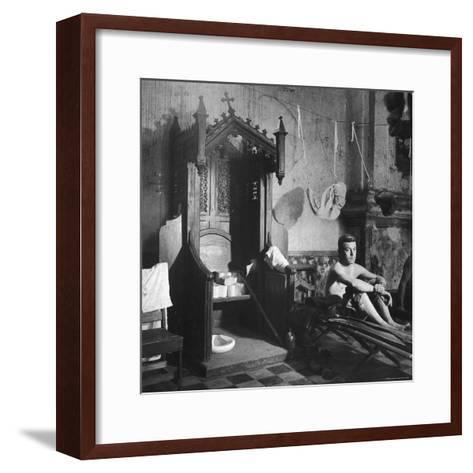 Grave Soldier on Cot Next to Ornate Confessional in Makeshift Hospital in Cens Cathedral-W^ Eugene Smith-Framed Art Print