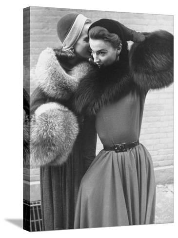 Ladies Modeling Tie on Collars and Matching Barrel Muffs Made of Natural Fox Skin-Gordon Parks-Stretched Canvas Print