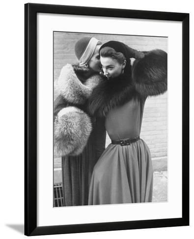 Ladies Modeling Tie on Collars and Matching Barrel Muffs Made of Natural Fox Skin-Gordon Parks-Framed Art Print