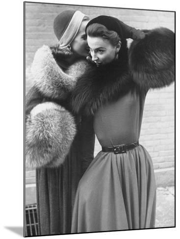 Ladies Modeling Tie on Collars and Matching Barrel Muffs Made of Natural Fox Skin-Gordon Parks-Mounted Photographic Print